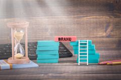 Brand, marketing, social media and the internet concept stock image