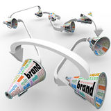 Brand Megaphones Bullhorns Connected Marketing Promotion. Several bullhorns or megaphones with the word Brand to spread the word and build buzz for your company' Stock Image