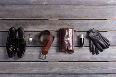 Brand men's accessories and shoes. Royalty Free Stock Images