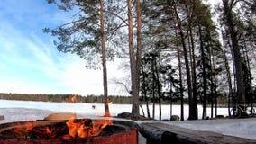 Brand met hout voor barbecue in een sneeuwland met bomen en bevroren meer erachter met mooi landschap in een zonnige dag wordt be stock videobeelden
