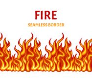 Brand naadloos patroon, grens, kader Vectorillustratie van heldere vlam vector illustratie