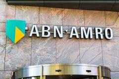Brand name logo ABN AMRO bank in Netherlands. Brand name logo ABN AMRO bank on local branch office in Alkmaar, North Holland, Netherlands royalty free stock images