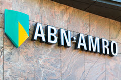Brand name logo ABN AMRO bank in Netherlands Royalty Free Stock Photo