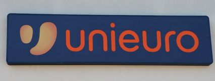 Close up of an Unieuro store. royalty free stock photo