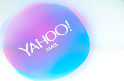 Brand name yahoo mail on screen android phone. Brest, Belarus - June 28, 2017: Brand name yahoo mail on screen android phone royalty free stock photo