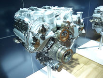 Brand New 4x4 SUV Engine. Brand New Engine of a 4x4 Sports Utility Vehicle Exposed Stock Image