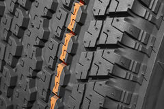 Brand new all terrain tyre macro detail. Vehicle wheel Stock Photo