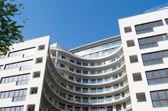Brand new apartment block. Brand new rounded apartment block located in Warsaw, Poland - Europe Stock Photo