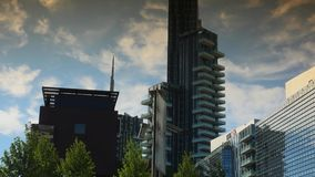The brand new architectural complex in the Corso Como-Porta Nuova area.Ultra hd 4k,real time. Editorial-Milan, Italy, circa 2016. The brand new architectural stock footage
