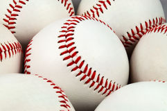 Brand new baseballs. Closeup of brand new baseballs Stock Images