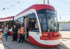 Brand New Bombardier Streetcars for Toronto Stock Photos