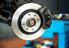 Brand new brake disc on car Royalty Free Stock Photography