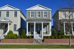 Brand New Craftsman Suburban American Dream Home Neighborhood Stock Photos