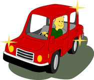 Brand New Car. Man inside a red car is happy and fulfilled by his car purchase Royalty Free Stock Photo