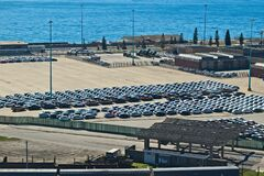 Brand new cars at the Port Elizabeth harbor that are going to be exported