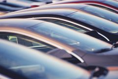 Brand New Cars in a Row royalty free stock photo