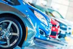 Brand New Cars For Sale. In Dealer Showroom. Car Business Stock Image