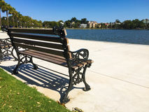 Brand New Colonial Lake, Charleston, SC. Plenty of benches to sit and relax at the brand new Colonial Lake between Rutledge Ave and Ashley Avenue in Downtown Stock Images