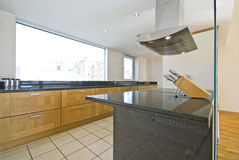 Brand new contemporary open plan kitchen Stock Image