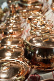 Brand new copper pots Royalty Free Stock Photography