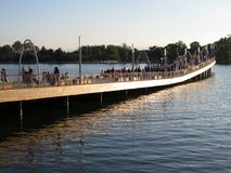 Brand New Dock at the Wharf. Photo of people at the new dock at the wharf at the southwest waterfront in washington dc on 10/14/17 during the four day stock image