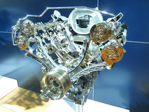 Brand New Engine. Of a 4x4 Sports Utility Vehicle Exposed Royalty Free Stock Images
