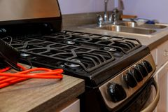 Brand new gas stoves Close up image of dated gas stove. Kitchen gas stove the kitchen Royalty Free Stock Photos