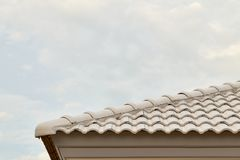 Roof tiles and sky sunlight Royalty Free Stock Images