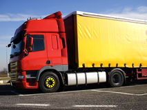 Brand new heavy truck. New european heavy truck for international logistics transport Stock Photos