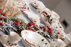 Brand new hollyday dishes. Table with different brand new hollyday dishes Stock Photo