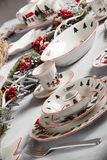 Brand new hollyday dishes. Table with different brand new hollyday dishes Royalty Free Stock Photos