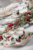 Brand new hollyday dishes. Table with different brand new hollyday dishes Stock Photos