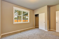 Brand new house construction interior. Empty room with closet. Royalty Free Stock Images