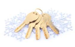 Brand-new house keys as Christmas gift Stock Photography