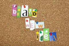 Brand New Idea. Single letters pinned on cork royalty free stock images