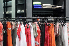 Brand new interior of cloth store. Luxury and fashionable brand new interior of cloth store Royalty Free Stock Photos