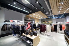 Brand new interior of cloth store Stock Image