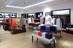 Brand new interior of cloth store Royalty Free Stock Photography