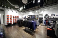 Brand new interior of cloth store Stock Images