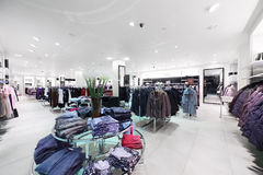 Brand new interior of cloth store Stock Photos