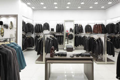 Brand new interior of fur store Royalty Free Stock Image