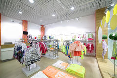 Brand new interior of kids cloth store Royalty Free Stock Photo