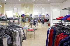 Brand new interior of kids cloth store Royalty Free Stock Image