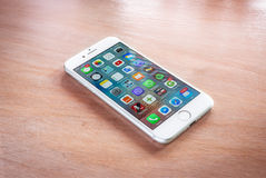 Brand new iPhone 7 silver with home screen royalty free stock photography