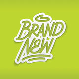 Brand new label lettering Stock Image