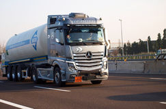 Brand new mercedes actros truck. New tractor mercedes actros on italian  motorway a4 Stock Images