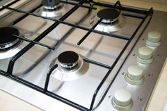 Brand new never used gas stove in appliance retail store stock images