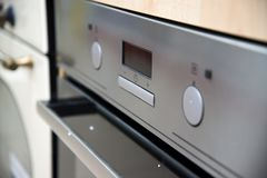 Brand new never used gas stove in appliance retail store.  stock images