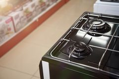 Brand new never used gas stove in appliance retail store