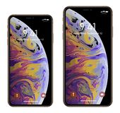 Brand new realistic mobile phone smartphone in Apple iPhone XS Max. Brand new realistic mobile phone smartphone in Apple iPhone XS, XS Max gold stock illustration